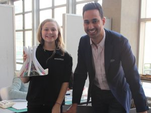 GraceJohnson (12) of Northstar Middle School Eau Claire, WI and Architectural Designer Taha Shawar.