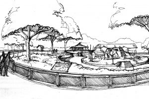 Milwaukee-County-Zoo-Macaque-Exhibit_Monkey-Island-Sketch_Public-Spaces_Civic-Cultural_ZAStudios